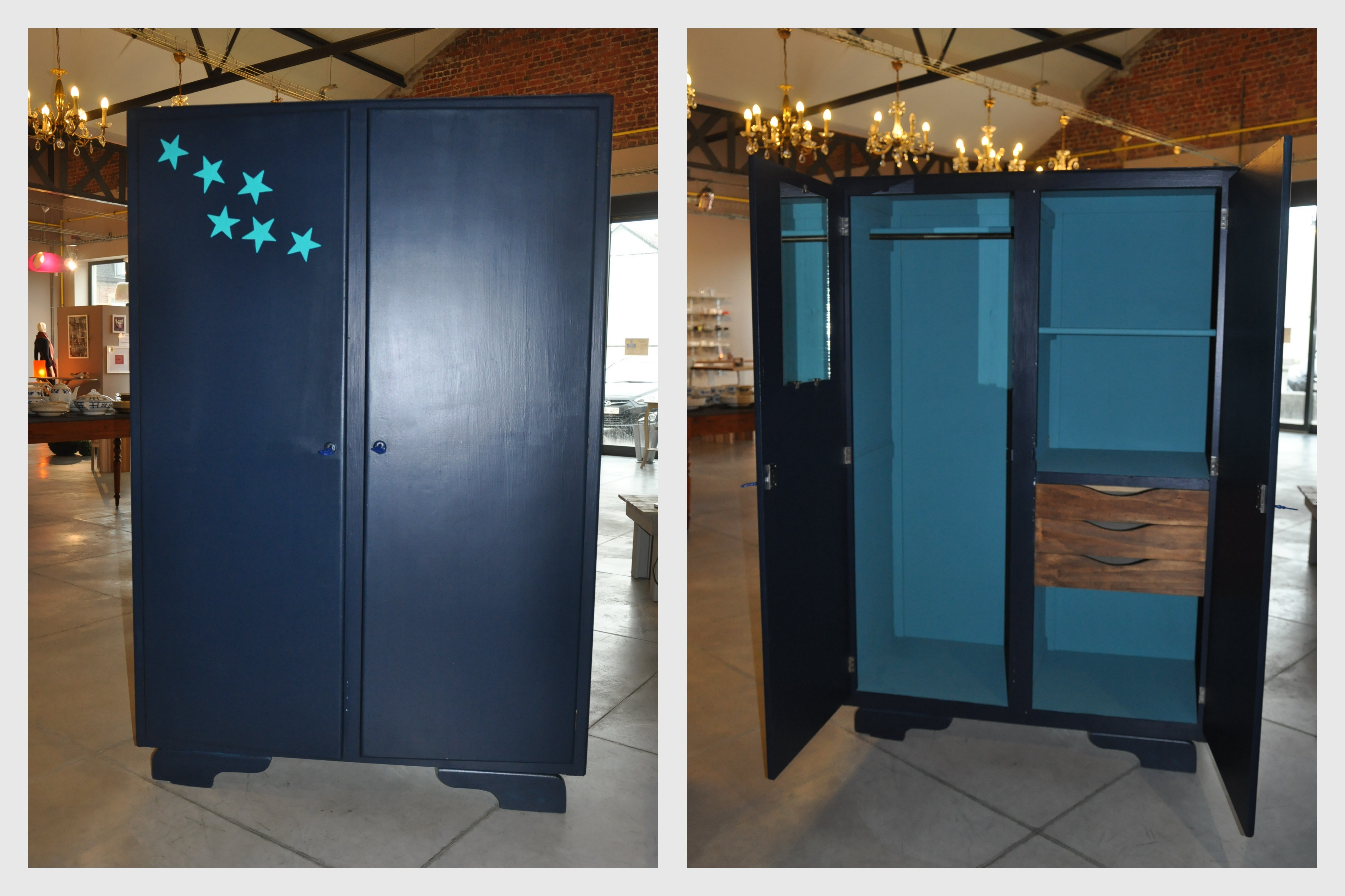 meuble penderie bleu. Black Bedroom Furniture Sets. Home Design Ideas